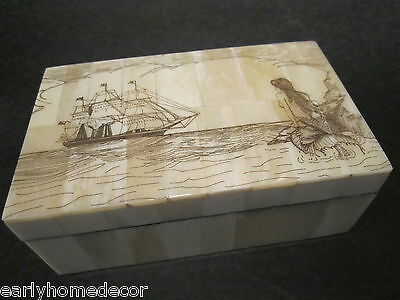Antique Style Folk Art Mermaid Scrimshaw Etched Bone & Wood Trinket Box