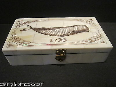 Nice Antique Style Folk Art  Whale Scrimshaw Bone & Wood Trinket Box 1793