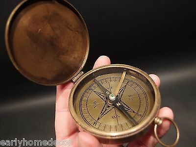 "Vintage Antique Style 3"" Brass Heavy Maritime Navigational Compass Aged"