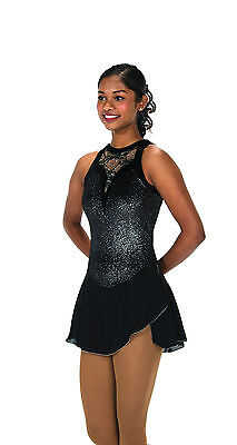 New Jerrys Competition Skating Dress 106 Lace Drop Black Made on Order