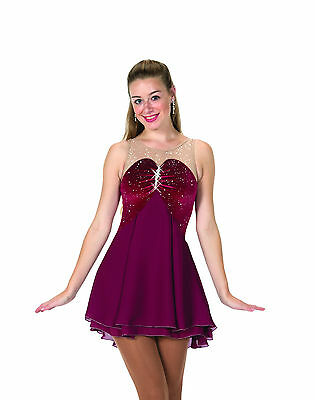 New Jerrys Competition Skating Dress 86 Claret & Crystals Made on Order