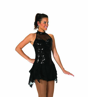 New Jerrys Competition Skating Dress 96 Black Lights Made on Order