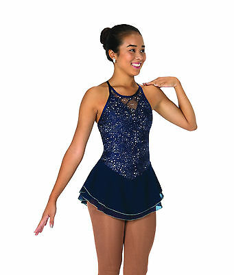 New Jerrys Competition Skating Dress 66 Lacy Bows Navy Made on Order