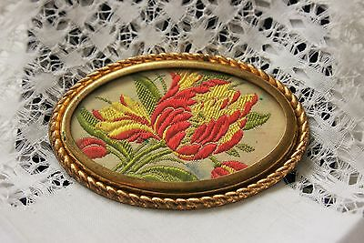Pretty Vintage Embroidered Floral Brooch In Brass Gold Coloured Frame