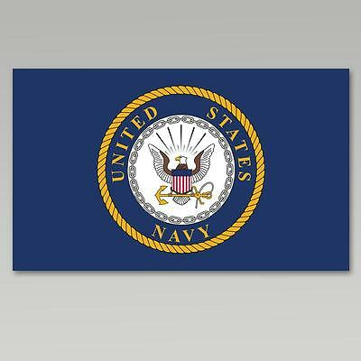 U.s. Navy Emblem Double Sided Embroidered 3'x5' Flag With Grommets Brand New