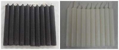 "20 Mini 4"" Chime Spell Candles: 10 Black & 10 White (Ritual Altar Wicca)"