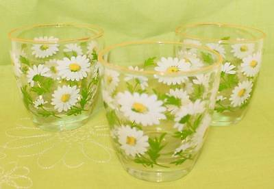 "3 Vintage~~Libbey Daisy Drinking Tumbler Glass~~3.5"" (366)"