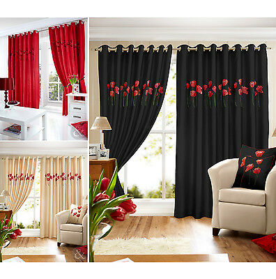 Poppy Faux Silk Curtains - Luxury Embroidered Ring Top Eyelet Lined Curtain Pair