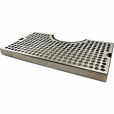"""12"""" Surface Mount Kegerator Beer Drip Tray Stainless Steel Tower Cut Out Drain"""