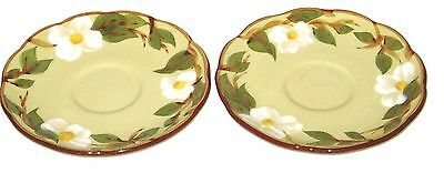Vintage Pair Stangl Pottery White Dogwood Saucers