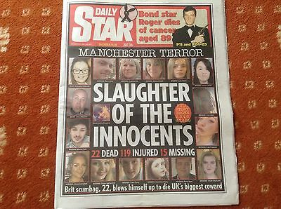Daily star newspaper Wednesday May 24th Manchester terrorist + roger Moore front