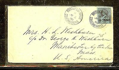 British Levant (P1206B) 1900  Fromconstantinople To Usa Qv 40P/2 1/2D
