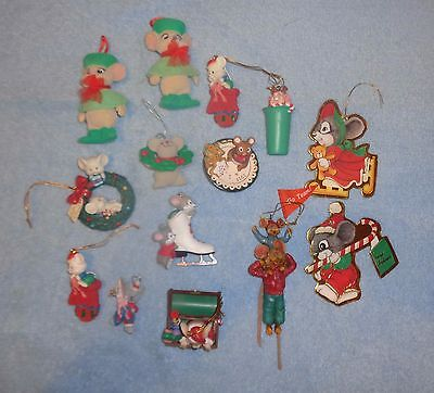 Lot of 14 Mouse Mice Christmas Ornaments- Tupperware- Matrix- Hallmark +