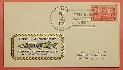 1937 Naval Cover Uss Pike Submarine Anniv Hand Painted Cachet
