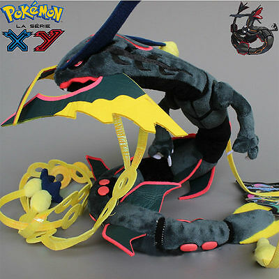 Xmas Pokemon Shiny Black Mega Rayquaza Soft Plush Stuffed Dolls Figure Toy 32''