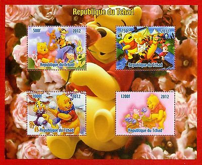 Winnie the Pooh Disney Classic 4 value perf Stamps Sheetlet 2012 Chad UKpost MNH