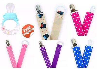 8 Pcs Lots USA Baby Colorful Design Dummy Pacifier Clips Leash Strap Holders