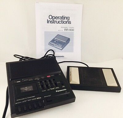 Panasonic RR-930 Microcassette Transcriber w/Pedal RP-2692 & Manual Working 100%