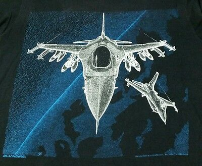 Vtg F-16 Falcon Tactical Fighter 1988 Blackbird T-Shirt Black Two sided