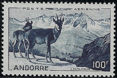 "ANDORRA (FRENCH) 1950   Sct #C1,  Mint/LH,  AIRMAIL  SUPERB  ""Chamois""  100f"