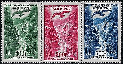 ANDORRA (FRENCH) 1955 Sct #C2-#C4,  Mint/VLH,  AIRMAIL  SUPERB  COMPLETE SET (3)