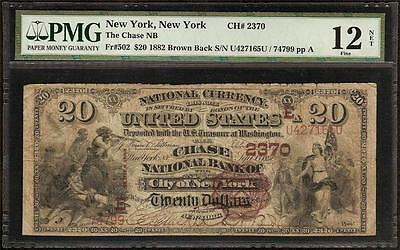 1882 $20 Dollar Bill Chase National Bank Note Large Currency Big Money F 502 Pmg