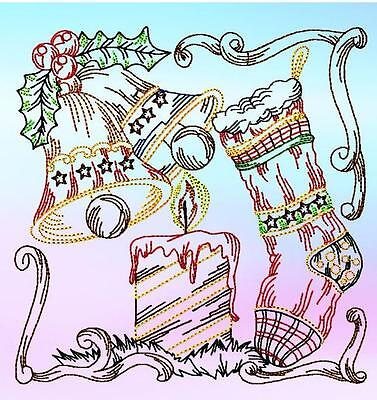 Christmas Colourline No3 10 Machine Embroidery Designs Cd 3 Sizes