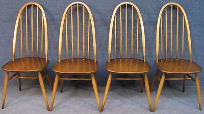 Set Of 4 Ercol Windsor Quaker 365 Elm & Beech Kitchen / Dining Chairs No 2