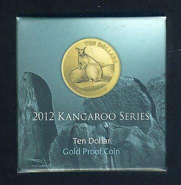 2012 Australian Ten Dollar 1/10oz Proof Gold Coin - Mareeba Rock Wallaby