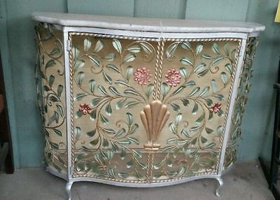 Antique Vintage Metal Work Flower and Leafs Art Deco Credenza with Marble Top