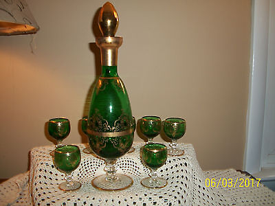 Fabulous Set/8 Glass Cordial Set Liqueur Decanter Green Gold Overlay Italy