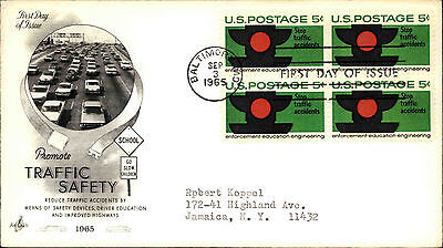 1965 USA Cover Stamp Issue Promoting Traffic Safety Cars Cancel Baltimore FDC