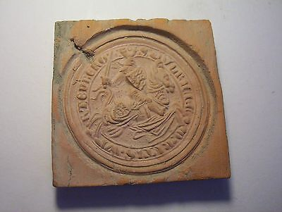 late Medieval  Red brick Tile    Knight on Horse  inscription
