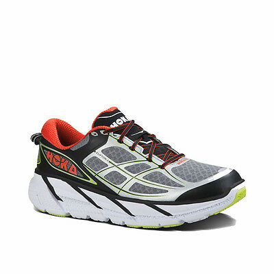 New Hoka One One Clifton 2 Running Shoes Size 9.5 Color Grey/Orange Flash