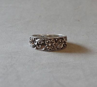 Antique Celtic Irish Ring Stering Silver Band Handmade Sand Cast Marked Size 5.5
