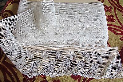 """STUNNING LENGTH ANTIQUE FRENCH SCOLLOPED CREAM """"FERN"""" WEDDING LACE 33ft c1910"""