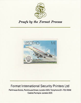 Lesotho 4215 - 1983  CONCORDE  imperf on Format International PROOF  CARD
