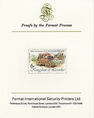 Lesotho 4223 - 1983 WELLS FARGO imperf  on Format International PROOF  CARD