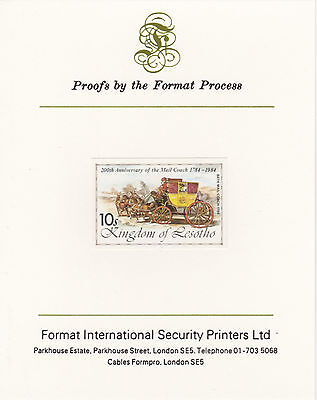 Lesotho 4225 - 1983 BATH MAIL COACH imperf  on Format International PROOF  CARD
