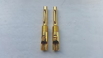 Pair Of Chord Gold Plated Z-Plug / Bayonet Banana Plugs