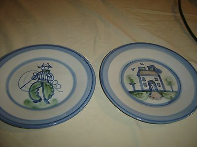 """MA Hadley 9"""" Plates Cowboy with Lariat and Farm House. In good condition. 9663"""