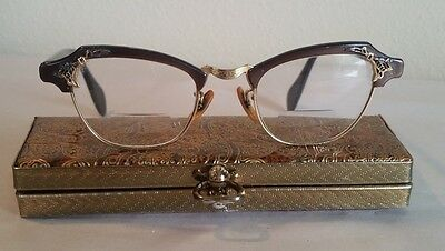 Vintage 50's Cat Eye Bausch & Lomb Gold Filled Eyeglasses with Case