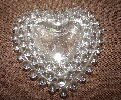 Imperial Glass Candlewick Heart Shaped Candy Nut Nesting Dishes 3 piece Set EUC