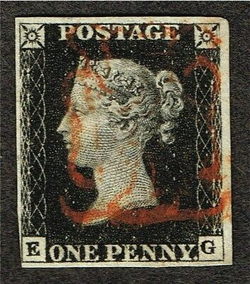 Gb Great Britain #1 Penny Black F-Vf Plate-6 (Aym13,11
