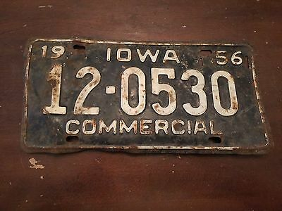 1956 Iowa Commercial License Plate Number 12-0530