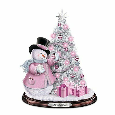 Thomas Kinkade Breast Cancer Awareness Snowman Statue Christmas Sculture