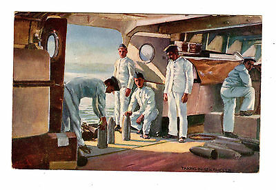Old Postcard Taking In 12 In Shells Raphael Tuck Soldiers Sailors Hearts Of Oak