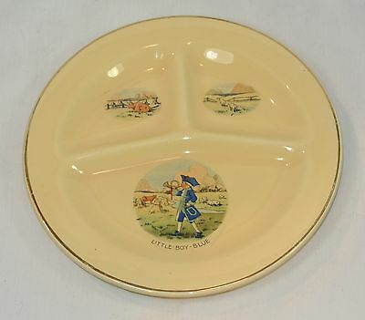 Vintage Pottery CHILD'S Divided Grill PLATE Little Boy Blue Decoration