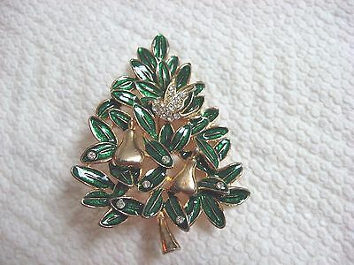 New FIRST Day of Christmas Partridge in a Pear tree pin brooch GOLD TONE