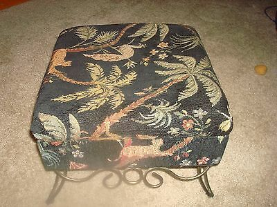 Vintage Foot Stool  Hinged Top  Palm Trees